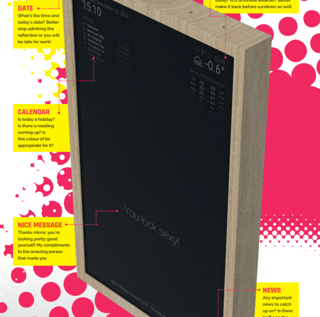 Today we teach you to create a mirror that shows the time and news with Raspberry pi
